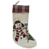 Snowman Stocking With Plaid Cuff