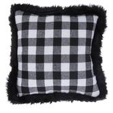 White & Black Buffalo Check Pillow With Fur Edge
