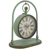 Rustic Green Metal Clock With Arch Stand