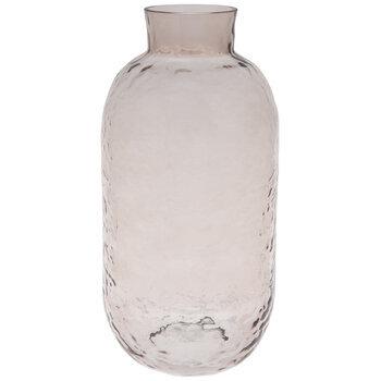 Pink Rippled Glass Vase - Tall