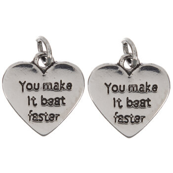 You Make It Beat Faster Heart Charms