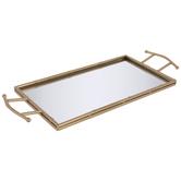 Gold Bamboo Look Mirrored Metal Tray