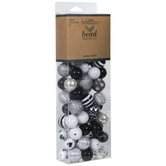 Black, White & Silver Striped Bead Mix