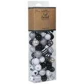 Black, White & Silver Striped Bead Mix