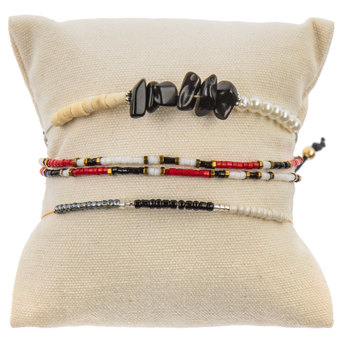 Red & Black Beaded Slider Bracelets