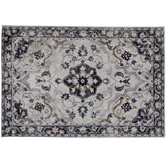 White & Navy Printed Chenille Rug