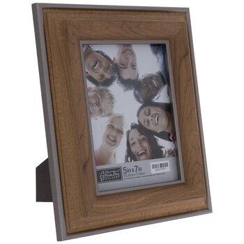 Silver Trim Beveled Wood Look Frame