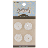 White Scroll Round Buttons - 16mm
