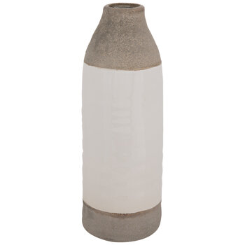 Gray & White Striped Vase