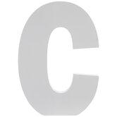 """White Wood Letter C - 5 1/2"""""""