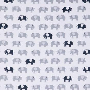Gray & Navy Elephant Apparel Fabric
