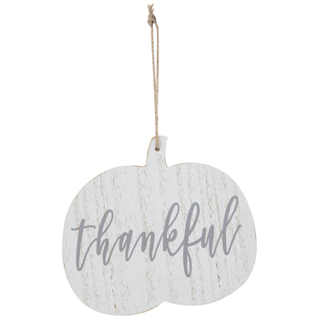 Thankful Pumpkin Wood Ornament