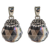 Faceted Dark Gray Glass Bead Charm