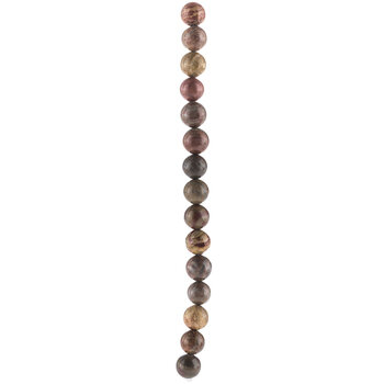 Brown Round Picasso Bead Strand