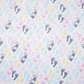 Pastel Handprints & Footprints Flannel Fabric