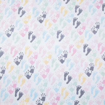Pastel Handprints & Footprints Flannel Fabric
