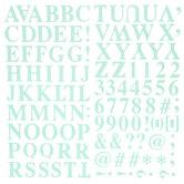 Mint Glitter Formal Alphabet Stickers