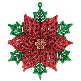 Red & Green Glitter Flower Ornament