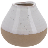 White & Brown Speckled Mini Flower Pot