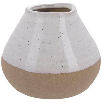 White & Brown Speckled Mini Flower Pot