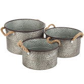 Hammered Galvanized Container Set