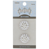 Rhinestone & Pearl Shank Buttons - 21mm