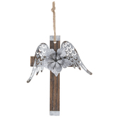 Wings & Flower Metal Wall Cross
