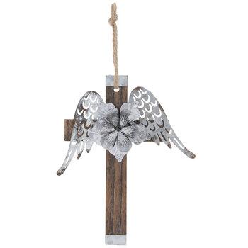 Wings & Flower Metal Wall Cross
