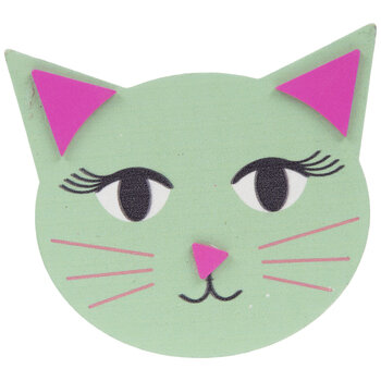 Green Cat Head Painted Wood Shape