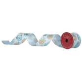 "Blue & Gold Glitter Ornament Wired Edge Ribbon - 2 1/2"""
