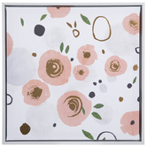Pink & Gold Flowers Canvas Wall Decor