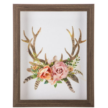 Antlers & Flowers Framed Wall Decor