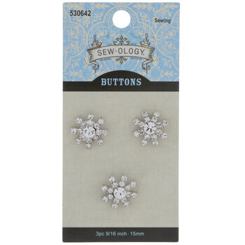 Rhinestone Starburst Shank Buttons - 15mm