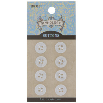 Pearl White Round Buttons