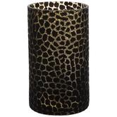 Black Cheetah Print Glass Vase
