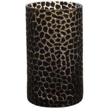 Black Cheetah Print Glass Vase - Small