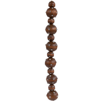 Brown Wood & Rhinestone Ball Bead Strand