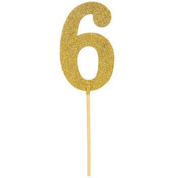 Gold Glitter Number Cake Topper - 6