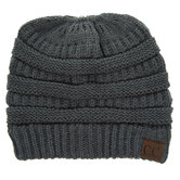 Dark Melange Gray C.C. Knit Messy Bun Beanie
