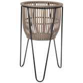 Wood Basket With Hairpin Legs