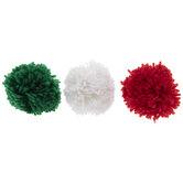 Red, Green & White Pom Pom Bows
