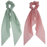 Pink & Teal Ribbon Scrunchies