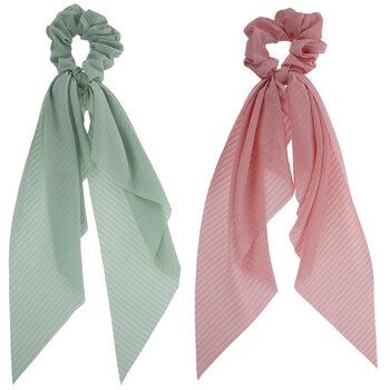 Pink & Teal Ribbon Scrunchies