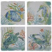 Blue & Green Watercolor Sea Animal Coasters