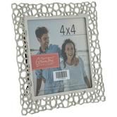 """Silver Geometric Cutout Metal Frame - 4"""" x 4"""""""