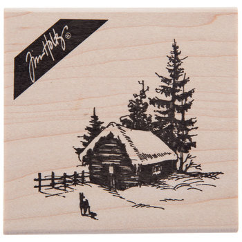 Wintry Cabin Rubber Stamp