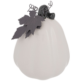 White Pumpkin With Metal Leaf