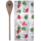 Flamingo Kitchen Towel & Spoon