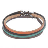 Tan, Turquoise, Black & Brown Leather Cord Bracelets