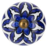 White & Blue Flower Round Knob